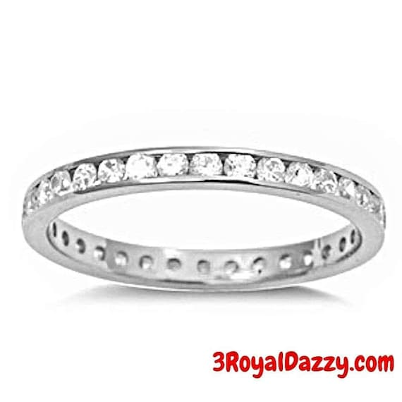 14k W Gold layer on Sterling Silver Wedding 1.00ct- CZ Eternity Ring Band Size - 6,7,8,9