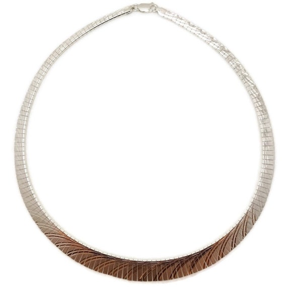 Brand New Anti-Tarnish 925 Sterling Silver Necklace 16 inch Artistic design One-sided Omega Chain with Lobsterclaw Clasp ( 12 . 2 mm  )