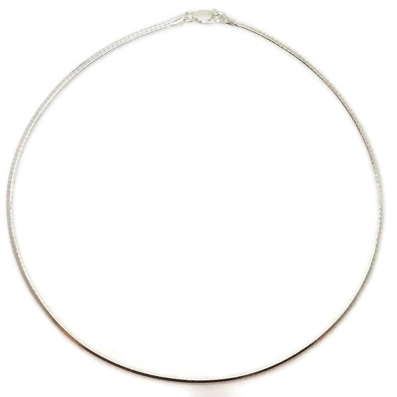 Brand New Anti-Tarnish 925 Sterling Silver Necklace 16 inch One-sided Omega Chain with Lobsterclaw Clasp ( 2 . 4 mm  )