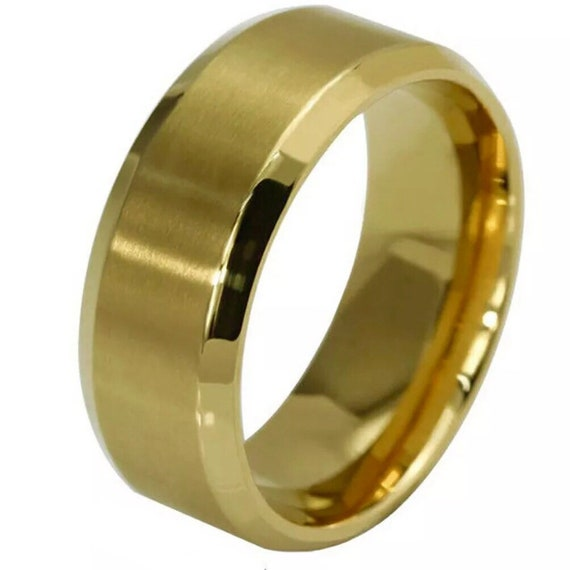 8mm Size6 Yellow Gold plated on Stainless Steel wide unisex Ring Band