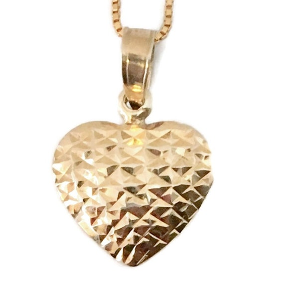 Brand New Rose Gold on 925 Sterling Silver Pendant Small Diamond cut heart with free chain ( 13 . 5 mm )