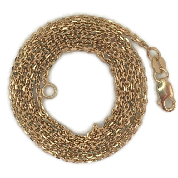 """Yellow gold layer on silver necklace small smooth cable chain 24"""""""