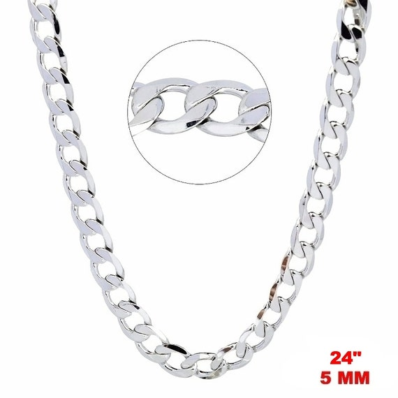 14k White gold Layer on Solid 925 Sterling Silver Curb Chain- 5 mm - 24 ""