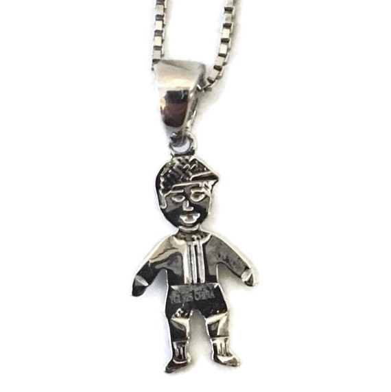 Brand New White Gold on 925 Sterling Silver Pendant cute boy with free chain ( 8 . 7 mm )