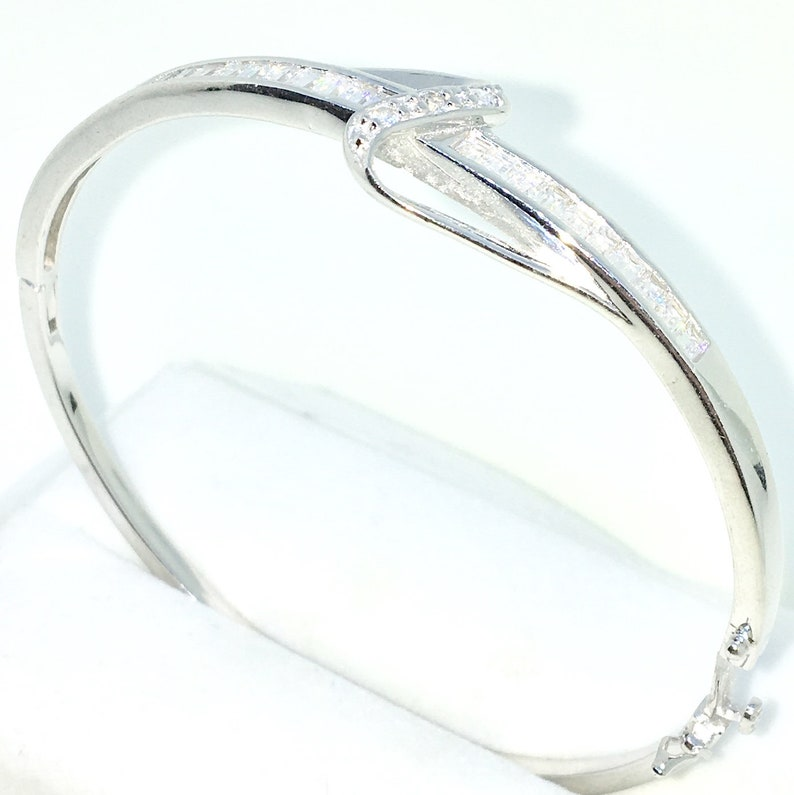 New White Gold Layered on 925 Solid Sterling Silver Oval Bangle Bracelets Single row of White Emerald CZ and Box clasp