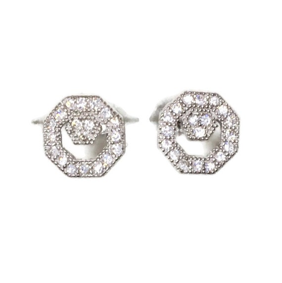Brand New white gold on 925 Silver Studs Earrings Small Octagon with white round CZ ( 7 . 6 mm )