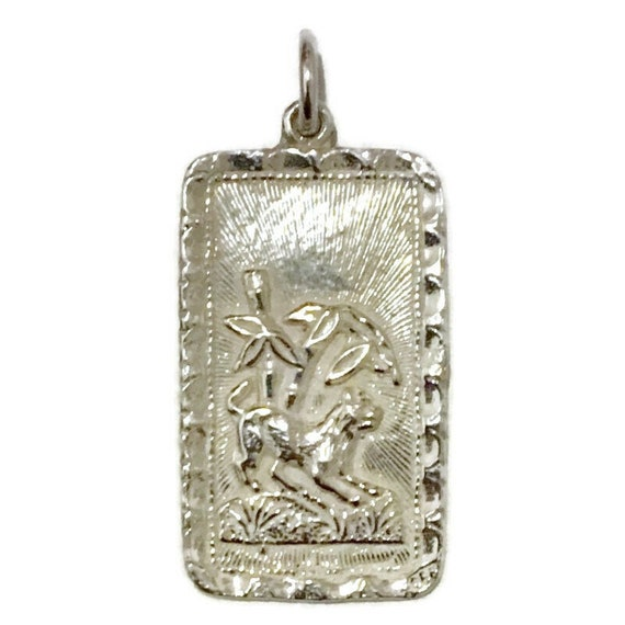 Brand New Anti-tarnish Silver Pendant rectangle shape with Dog Zodiac and Fortune  ( 17 . 7 mm )