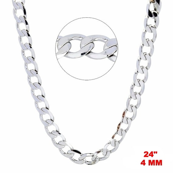 14k White gold Layer on Solid 925 Sterling Silver Curb Chain- 4 mm - 24 ""