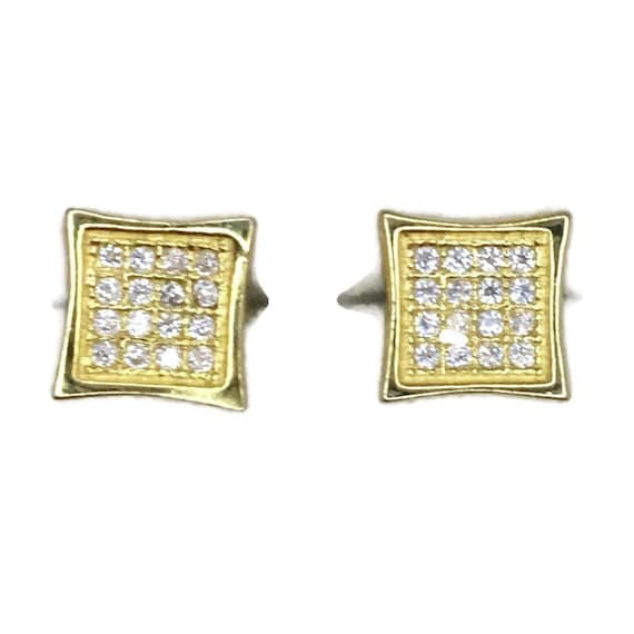 Brand New Yellow gold on 925 Silver Studs Earrings Small Pointy Square with round white CZ ( 7 . 0 mm )