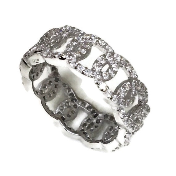 Brand New White Gold on 925 Sterling Silver Eternal Ring Band circles of round white CZ ( size 8 )