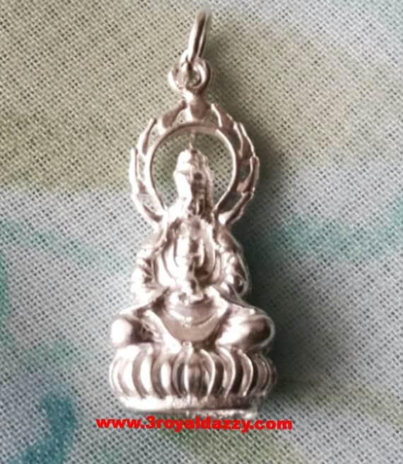 Favorite Eye Catching GuanYin Goddess Buddha .925 Sterling Silver Pendant