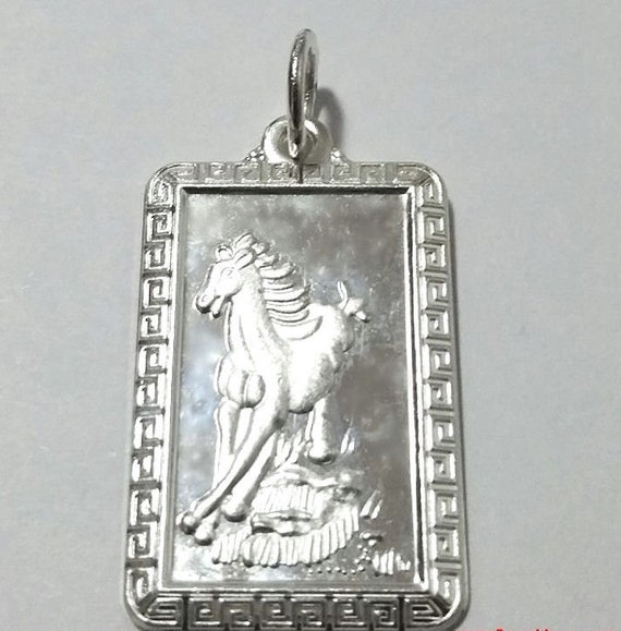 Chinese zodiac horoscope 999 fine silver rectangle year of horse pendant charm