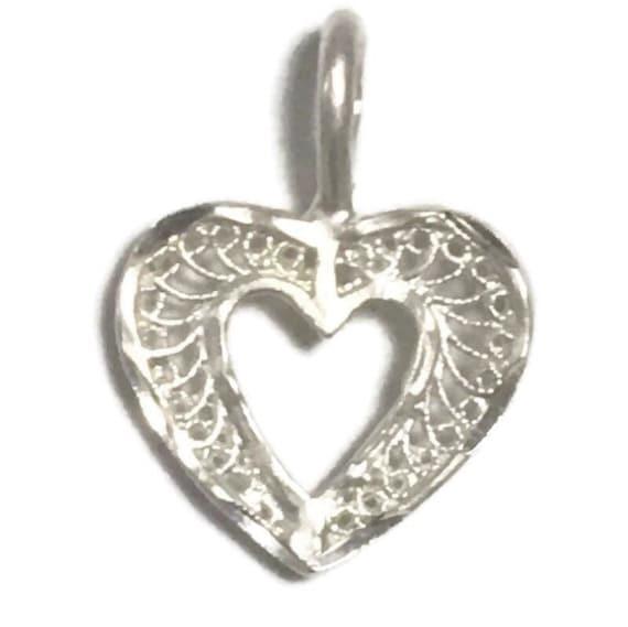Brand new 925 silver glossy shiny heart charm pendant matte finish