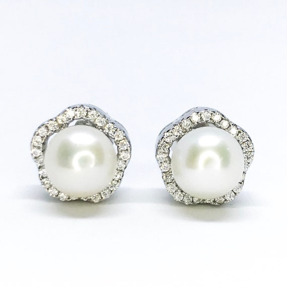 NEW 14k White Gold Layered on Sterling Silver Round Pearl Earrings