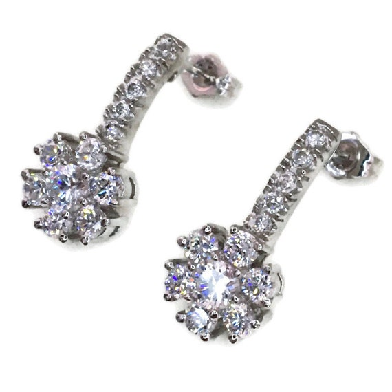 White gold on Silver dangle drop Earrings flower & white round CZ