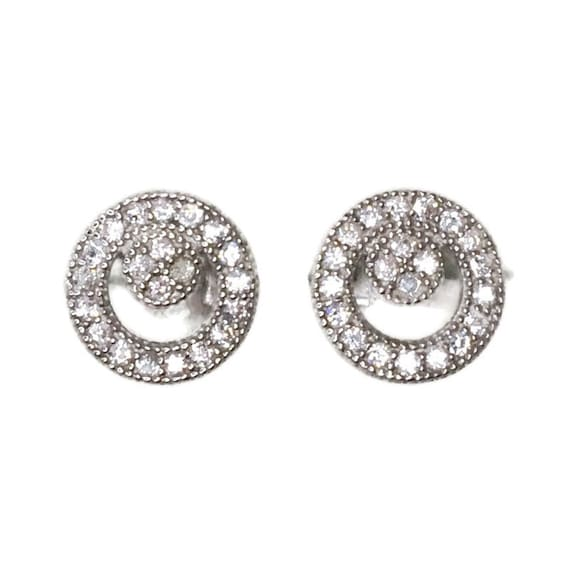 Brand New white gold on 925 Silver Studs Earrings Small double Circle with white round CZ ( 7 . 8 mm )