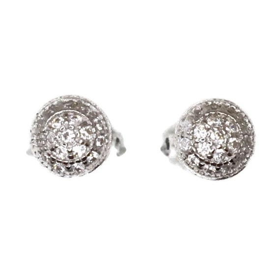 Brand New white gold on 925 Silver Studs Earrings Small Half Sphere with white round CZ ( 5 . 8 mm )