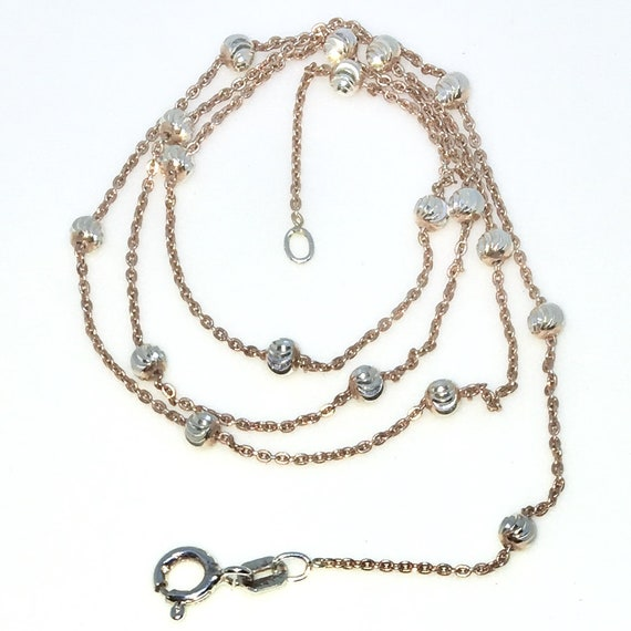 New Rose Gold Layered 925 Solid Sterling Silver 18 inch Diamond Cut Silver beads & Thin Cable Chain Necklace with springring clasp