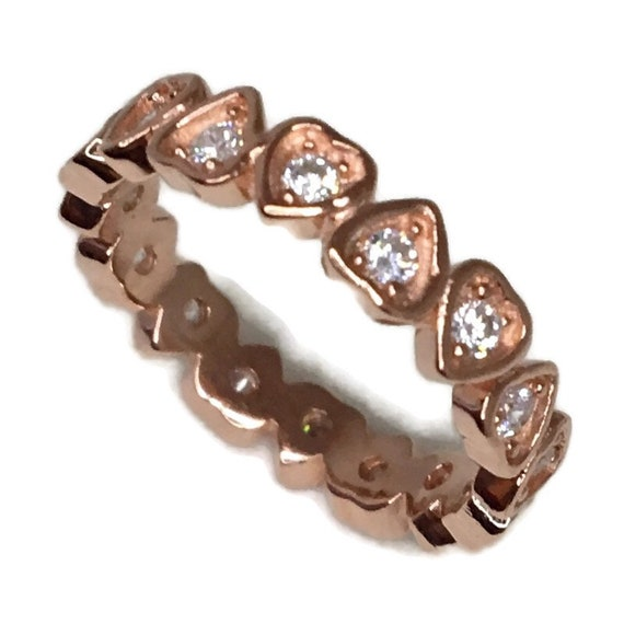 Brand New Rose Gold on 925 Sterling Silver Eternal Ring Band Heart shape White CZ ( size 6 )