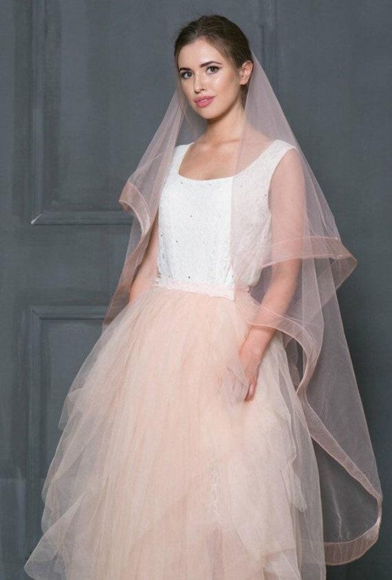 Blush Pink Horsehair Wedding Veil Blush Wedding Veil Veil Etsy