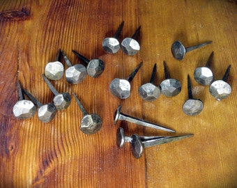 "Five hand forged nails ""M size"" rosehead, blacksmith made steel spikes, coat hangers, log cabin decor, folk rustic interior, wrought iron"