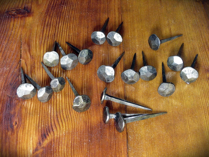 Five hand forged nails M size rosehead  blacksmith made steel spikes  log cabin decor  rustic folk interior  ancient  nordic