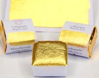 Glinda | Handmade Gold Watercolor  - Metallic Gold - Calligraphy Ink, Metallic Watercolor Paint Pan