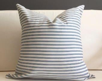 Navy and Cream Ticking Stripe Pillow, DINA