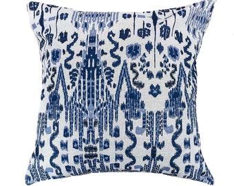 Navy Ikat Pillow Cover, MUMBAI, Blue Ikat Pillow Cover, Tribal Pillow, Boho Pillows, Euro Sham, Lumbar, Boho Pillows, Navy Pillows