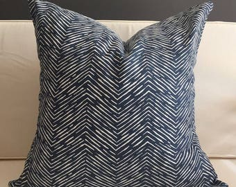 Navy Boho Pillow Cover, WAVES, Blue Boho Pillow, Tribal Pillow, Blue Tribal Pillow, MANY SIZES, Euro Sham, Lumbar Pillow