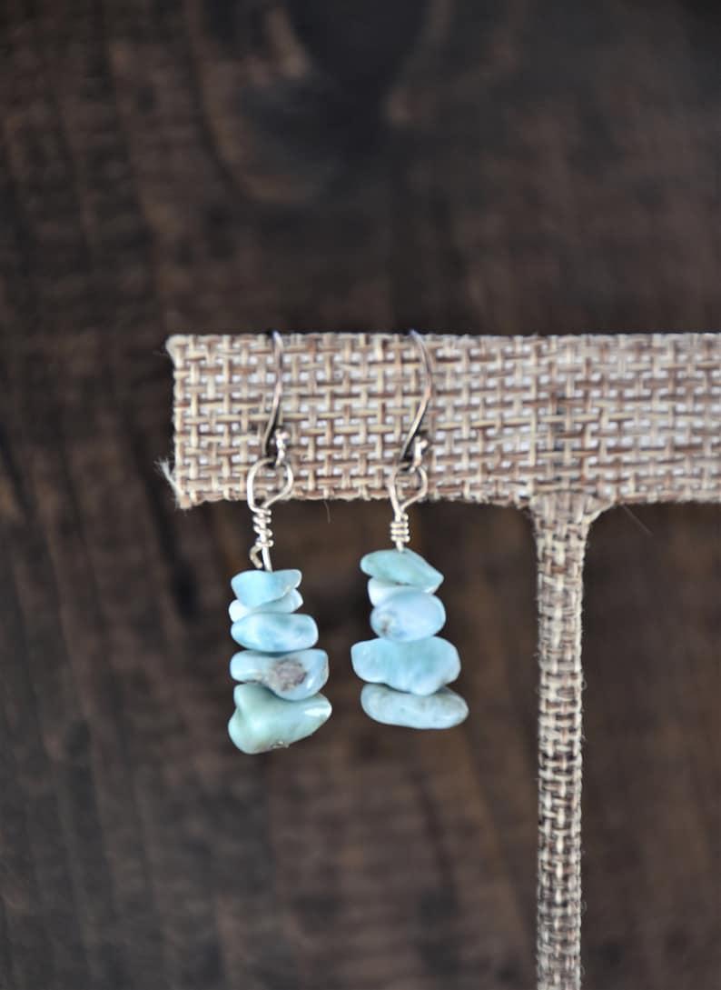 Larimar earrings  larimar jewelry  beach wedding earrings  image 0