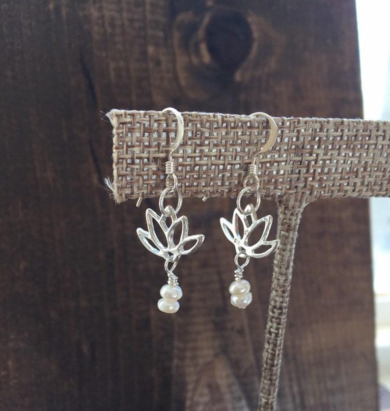 Lotus jewelry  lotus blossom earrings  pearl earrings  image 0