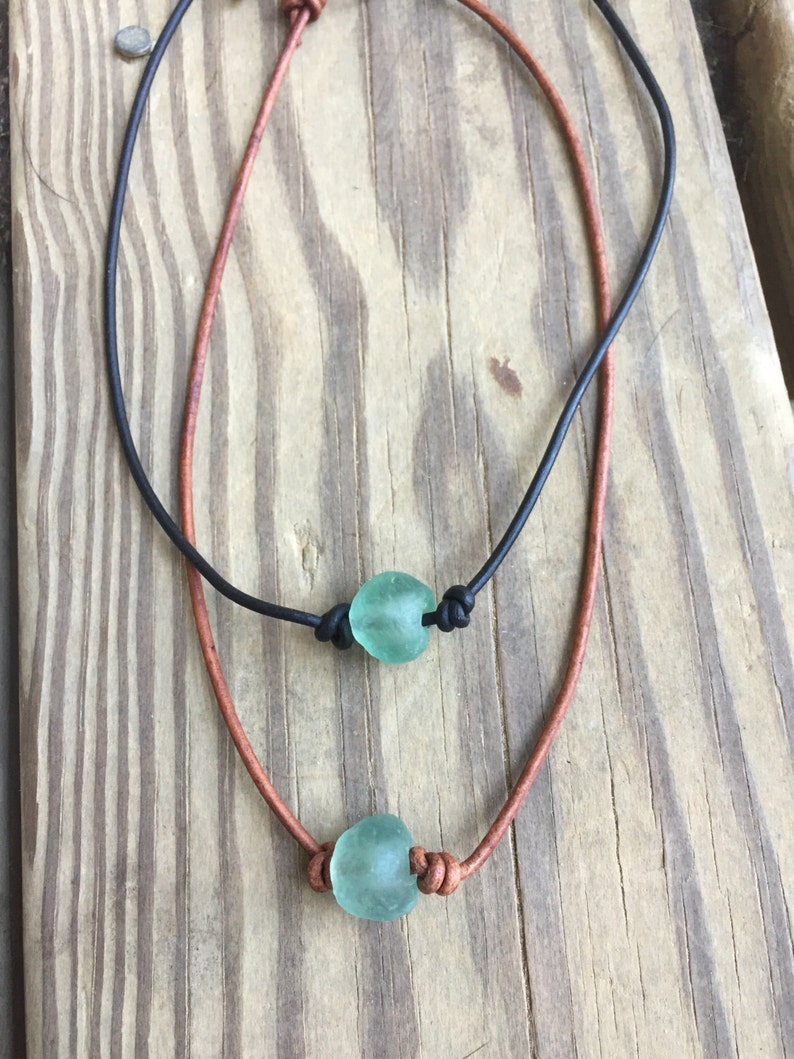 African glass necklace  Boho necklace  beach glass  image 0