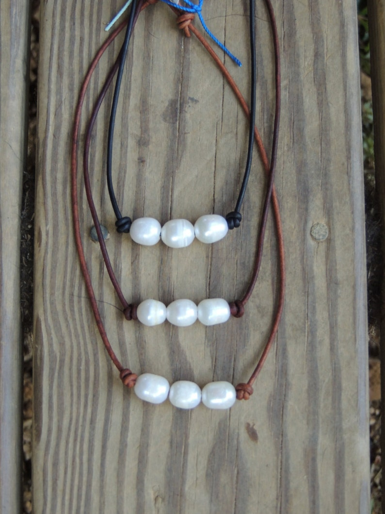 Freshwater Pearl and Leather necklace  leather necklace  image 0