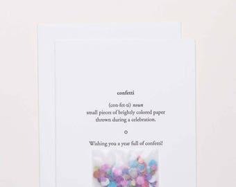 Confetti Definition Card With Confetti   Happy Birthday   Unique  Letterpress B Day Cards