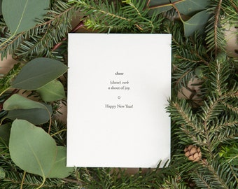 cheer happy new year card new years letterpress cards cheers happy 2018 happy holidays seasons greetings by of note stationers