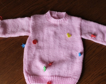 hand knit sweater, baby pink, knitted