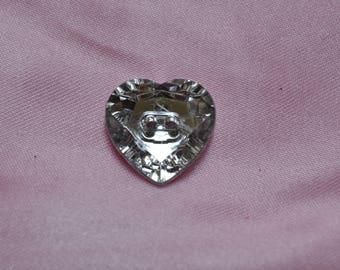 button Heart Rhinestone 20mm