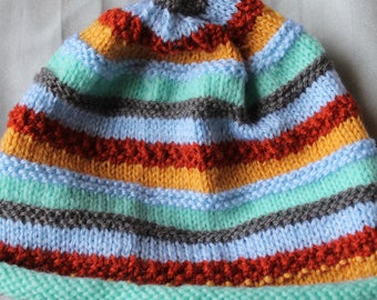 child hat, multicolure handles, 50cm, knitted handmade