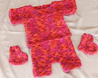 knitting, set, shortpull, shoe, hat, doll, doll, baby corole hand knitted