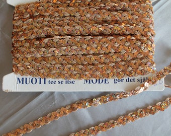 Ribbon and glitter, gold sequins, sewn, 10 mm wide