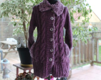 jacket, knit, over-sized, purple