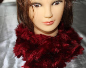 hand-knitted collar, fur, Red