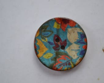 set of 2 buttons round wood fnataisie diam30mm