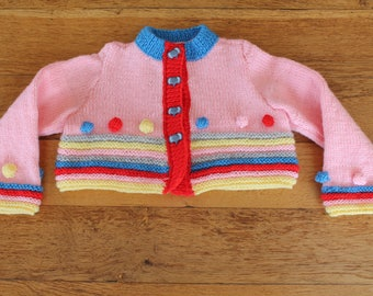 hand knit vest, short, pink, striped, knitted