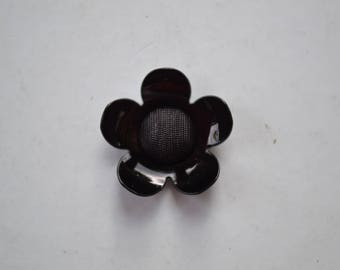 fancy black diamond 20mm flower button