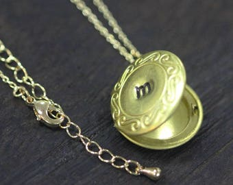 Personalized Locket Necklace GOLD initial locket necklace Engraved Mini Locket, Personalized Gift C518L-31_G