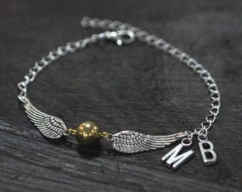 Golden Ball bracelet Gold Ball-Wings Charms quidditch bracelet personalized bracelet, monogram bracelet  C504B