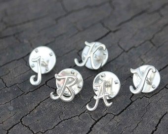 8224370b0 silver Dainty Letter brooch,silver Initial brooch,Custom sterling silver  Initials jewelry,gift idea,Mother gift