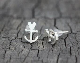 cfc997509 925 sterling silver Handmade mouse earrings,Anchor Stud Earrings,bear Studs  jewelry,silver lucky earrings gifts idea,lady jewelry